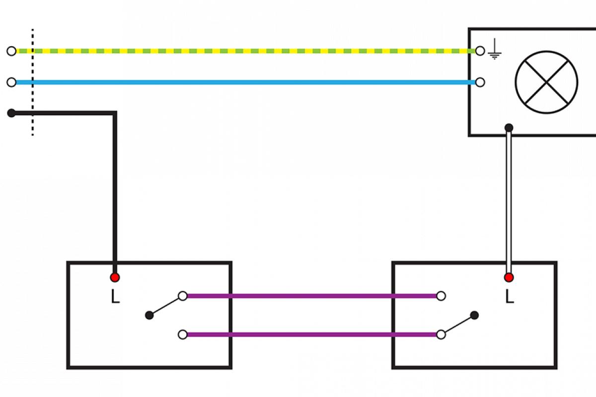 einfache wechselschaltung schule wiring diagram. Black Bedroom Furniture Sets. Home Design Ideas